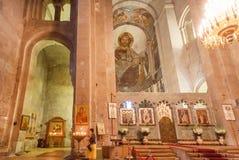 Inre och gamla frescoes av den kristna Svetitskhoveli domkyrkan Lokal för Unesco-världsarv Royaltyfria Bilder