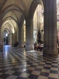 Inre och valv av domkyrkan Oviedo Asturias Spanien arkivfoto