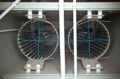 Inre ordning av den biologiska behållaren för avloppsvattenbehandling med filter Fotografering för Bildbyråer