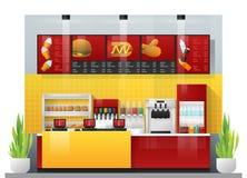 Inre plats av den moderna snabbmatrestaurangen royaltyfri illustrationer