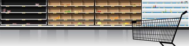 Inre plats av den moderna supermarket med den tomma hyllor och shoppingvagnen stock illustrationer