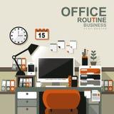 Inre plats för kontor i plan design stock illustrationer