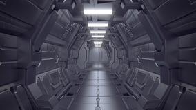 Inre plats för science - illustrationer för science fictionkorridor 3d royaltyfri fotografi