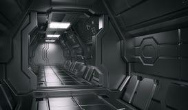 Inre plats för science - illustrationer för science fictionkorridor 3d vektor illustrationer