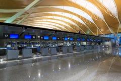 inre pudong shanghai för flygplats arkivbild