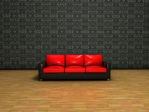 inre röd sofa för klassisk garnering Arkivbild