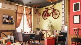 Inre Retro design för kafé Arkivbild