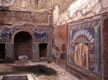 Inre romersk villa, Herculaneum, Italien. Arkivfoto