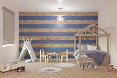 Inre rum för litet barnpojkebarnkammare royaltyfri illustrationer