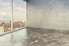 Inre rum för tom vind med betongväggar Fotografering för Bildbyråer