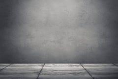 Inre rum med den smutsiga betongväggen och golvet r Arkivbild