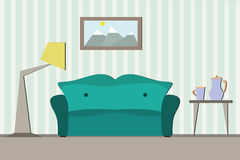 Inre rum med soffan Arkivbild