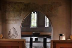 Inre Scherzligen kyrka från Thun Schweiz royaltyfria foton