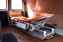 Inre sikt av den använda ambulansen Royaltyfri Foto