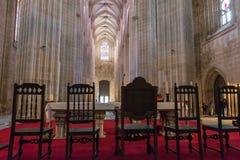 Inre sikt av den Batalha Santa Maria da Vitoria Dominican abbotskloster Arkivbild