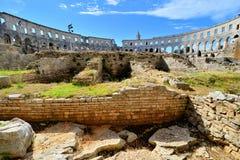 Inre sikt av den romerska amfiteatern, Pula, Kroatien Royaltyfria Foton