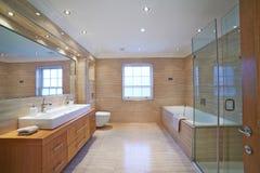 Inre sikt av det härliga lyxiga badrummet Royaltyfri Foto