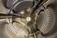 Inre sikt av en vals av en tvagningmaskin royaltyfri fotografi