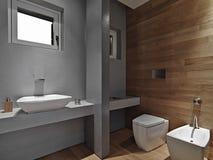 Inre sikt av ett modernt badrum royaltyfria bilder