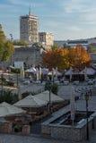 Inre sikt av fästningen och panorama till staden av Nis, Serbien royaltyfri fotografi