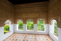 Inre sikt av slotten av Generalife granada Arkivbild