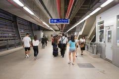 Inre sikt av stationen för sammanlänkning för Suvarnabhumi flygplatsstång Fotografering för Bildbyråer
