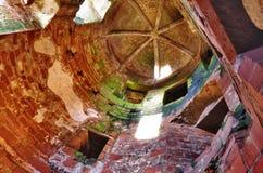 Inre sikt av tornet på den Caerlaverock slotten Royaltyfri Fotografi
