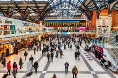Inre sikt för Liverpool station Fotografering för Bildbyråer