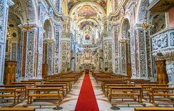 Inre sikt i den barocka kyrkan av den Gesà ¹en i Palermo italy sicily royaltyfria bilder