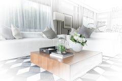 Inre skissar design av modern vardagsrum med modern stol a royaltyfri foto