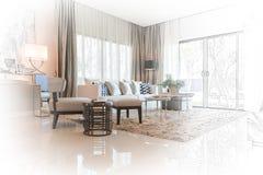 Inre skissar design av modern vardagsrum med modern stol a arkivbild