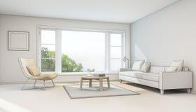 Inre skissar designen, vardagsrum i modernt hus Arkivbild