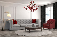 inre sofa illustration 3d Arkivbild