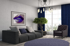 inre sofa illustration 3d Royaltyfri Bild