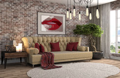 inre sofa illustration 3d Royaltyfria Foton