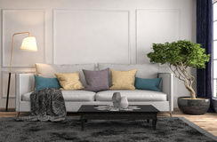 inre sofa illustration 3d Fotografering för Bildbyråer