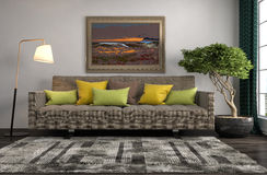 inre sofa illustration 3d Royaltyfri Bild