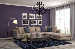 inre sofa illustration 3d Arkivfoto