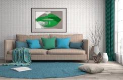 inre sofa illustration 3d Royaltyfri Fotografi