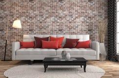 inre sofa illustration 3d Royaltyfria Bilder
