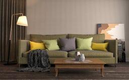 inre sofa illustration 3d Arkivbilder