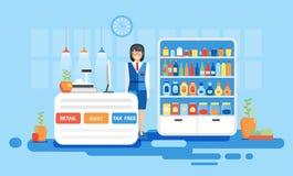 Inre som är tullfri, skatt, detaljhandel på flygplatsen för flyg, affärslopp i plan stil stock illustrationer