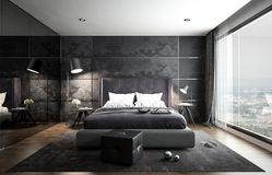 Inre sovrummodell, svart modern stil, 3D tolkning, 3D I royaltyfri illustrationer