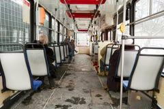 Inre spårvagn. Fotografering för Bildbyråer