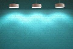 Inre stenvägg för turkosblått med lampor Fotografering för Bildbyråer