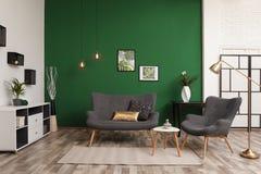 Inre stilfull soffa för vardagsrum nära den gröna väggen royaltyfri fotografi