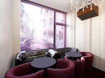 inre stilfullt för cafe Arkivbild