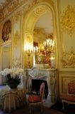 Inre storartad kunglig slott med spis royaltyfri bild