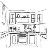Inre teckning för kök Möblemang skissar Arkivbild