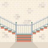 Inre tegelstenvägg med trappa Royaltyfri Bild